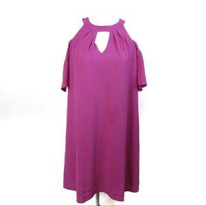 T524 Blue Rair Francesca's Neon Pink Open Shoulder